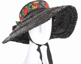 4fd38f24a04 70s Yves Saint Laurent Rive Gauche Wide Brim Straw Hat with Floral  Embroidery Sz 57 Rare Vintage