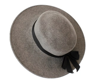 ee395ac8f29 70s Yves Saint Laurent Wide Brim Hat Gray Wool by Bollman Hat Co Sz S  Vintage YSL Rare