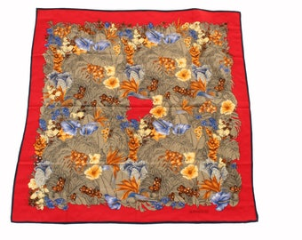 fe920c0e66 Versace Large Silk Floral Print 35in Red Blue Yellow Vintage Scarf Shawl
