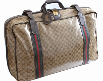 60deada4639 Iconic Gucci Suitcase Rare Coated Canvas GG Logo Leather Soft Sided Luggage  Travel 28in Vintage 1970s + Luggage Tag