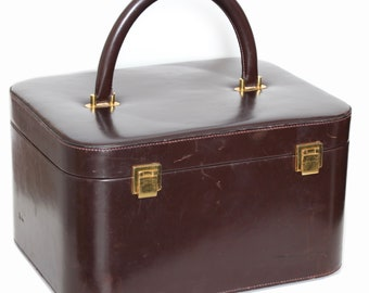 c62f5fdddb7 Rare Hermes Box Leather Train Case Vanity with Mirror Travel Vintage Carry  On Bag 1950s