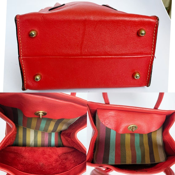 Vintage Bonnie Cashin for Coach Bag Red Leather D… - image 5