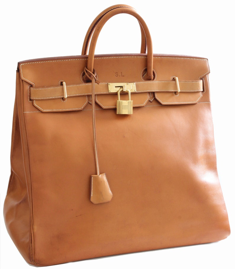 Hermes Haut A Courroies HAC 45cm Travel Birkin Bag Vache Natural Leather  Rare Vi... Hermes Haut A Courroies HAC 45cm Travel Birkin Bag Vache Natural  Leather ... 38c8422865eb8