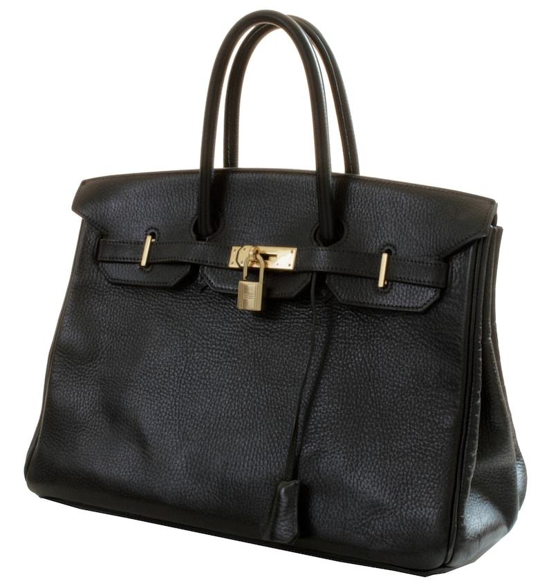 46f3052bf84d Hermes Birkin 35cm Tote Bag Black Noir Ardennes Leather 90s
