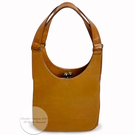 Bonnie Cashin for Coach Kiss Lock Bag Saddle Tan … - image 3