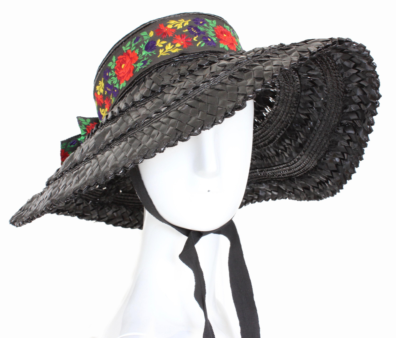 9ec7b6fa53c 70s Yves Saint Laurent Rive Gauche Wide Brim Straw Hat with