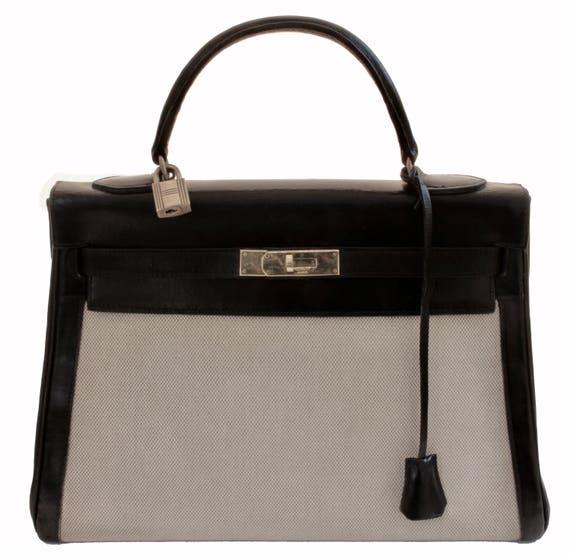 Vintage Hermes Kelly Bag 32cm Sac a Depeches Retourne Black   Etsy b99f33340a