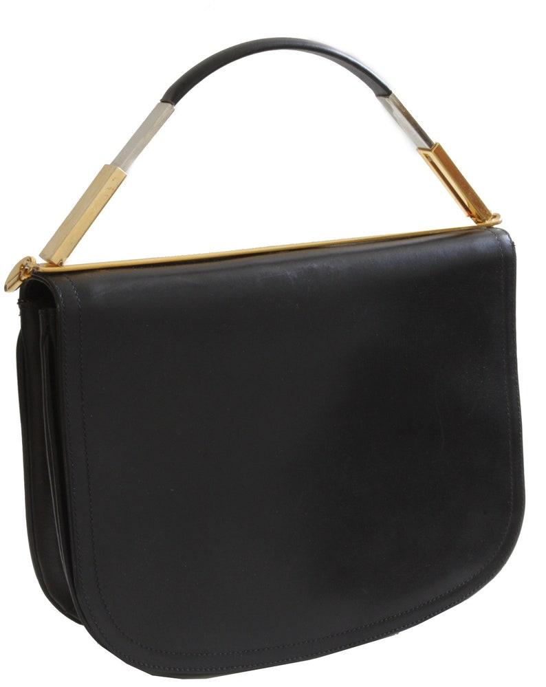e3bf573947c3 Vintage John F Top Handle Bag or Clutch Black Box Leather