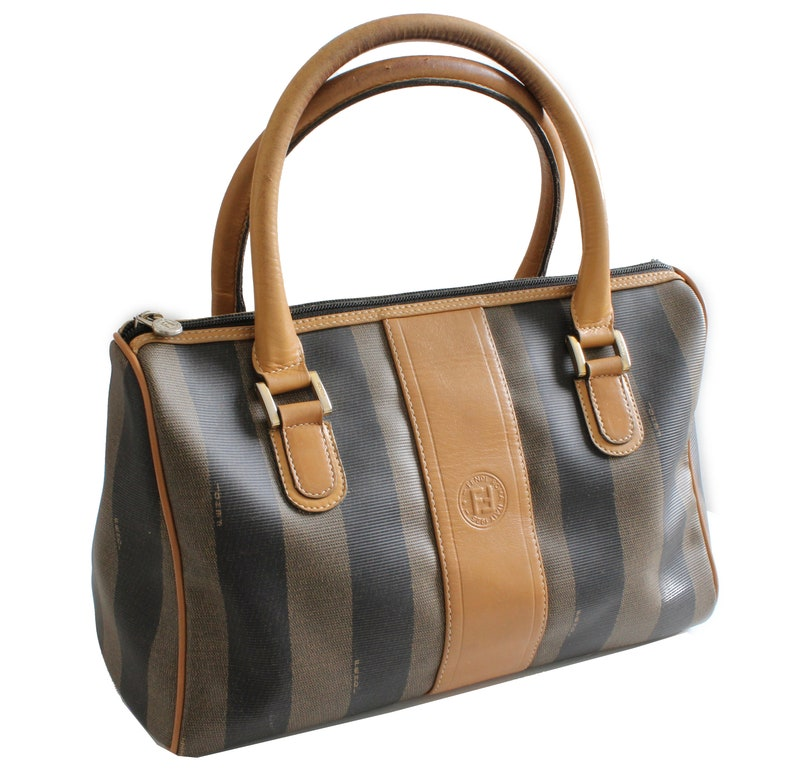 277d77c088b3 Fendi Bag Tote Speedy Pequin Stripe Canvas with Leather Trim