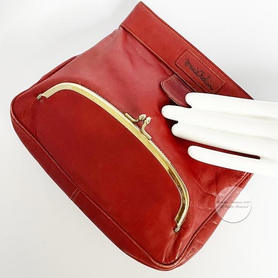 Bonnie Cashin Clutch Bag Brick Red Leather Hinge … - image 2