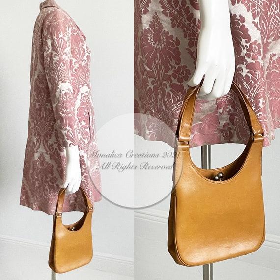 Bonnie Cashin for Coach Kiss Lock Bag Saddle Tan … - image 4
