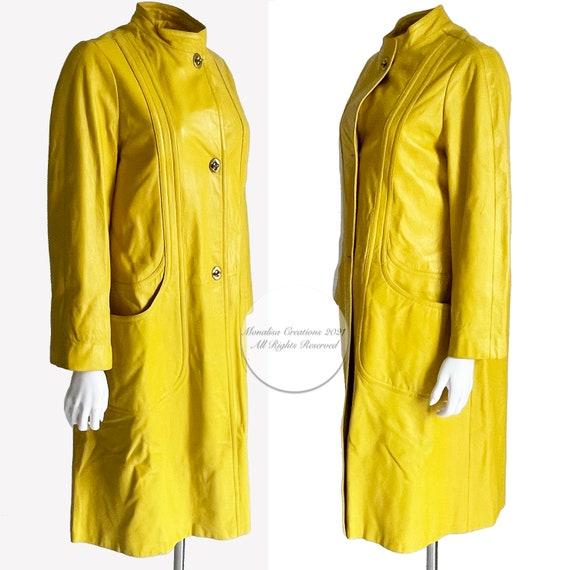 Bonnie Cashin for Sills Coat Mod Lemon Yellow Lea… - image 4