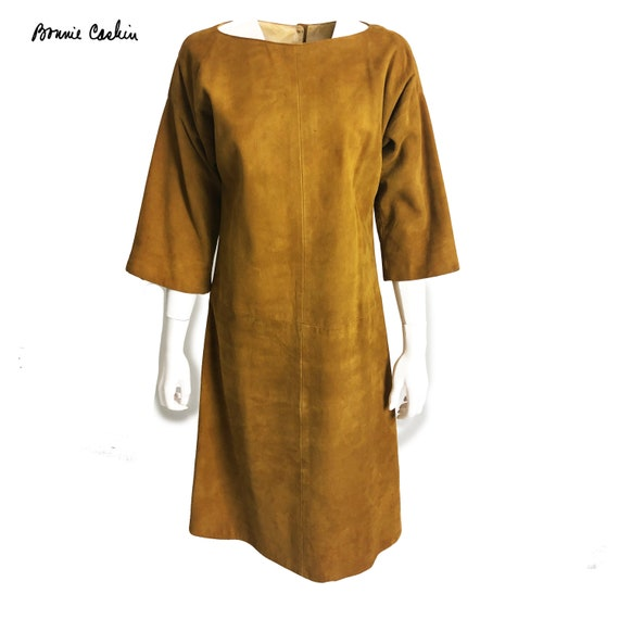Bonnie Cashin Dress Gold Suede Leather Kimono Sle… - image 1