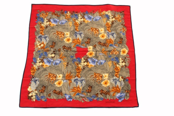 Versace Large Silk Floral Print 35in Red Blue Yell