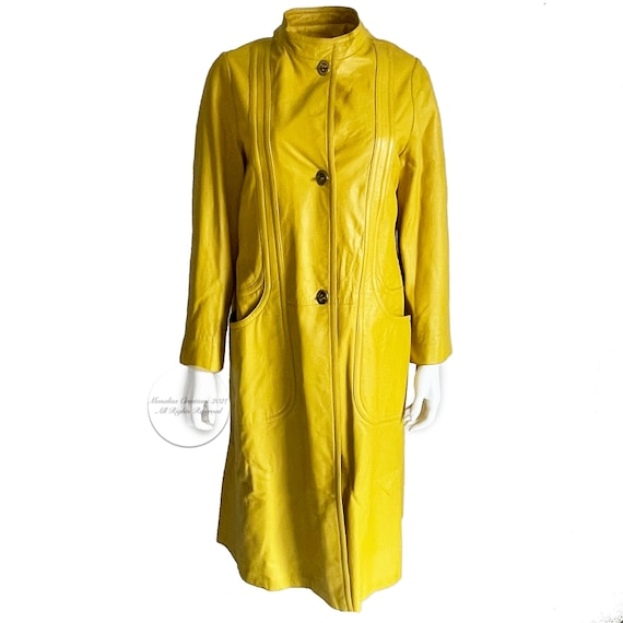 Bonnie Cashin for Sills Coat Mod Lemon Yellow Lea… - image 1