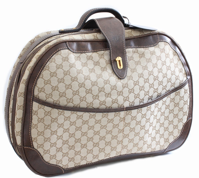 Vintage Gucci GG Logo Canvas Small Carry On Bag Suitcase  f46db10e24691