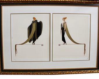 ERTE Ready For The Ball 1982 Diptych Limited Edition Serigraph 140/300 Framed Signed Rare with COA