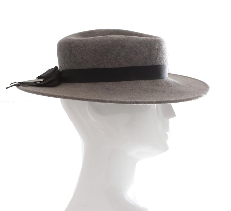 345fb43b740 70s Yves Saint Laurent Wide Brim Hat Gray Wool by Bollman Hat | Etsy
