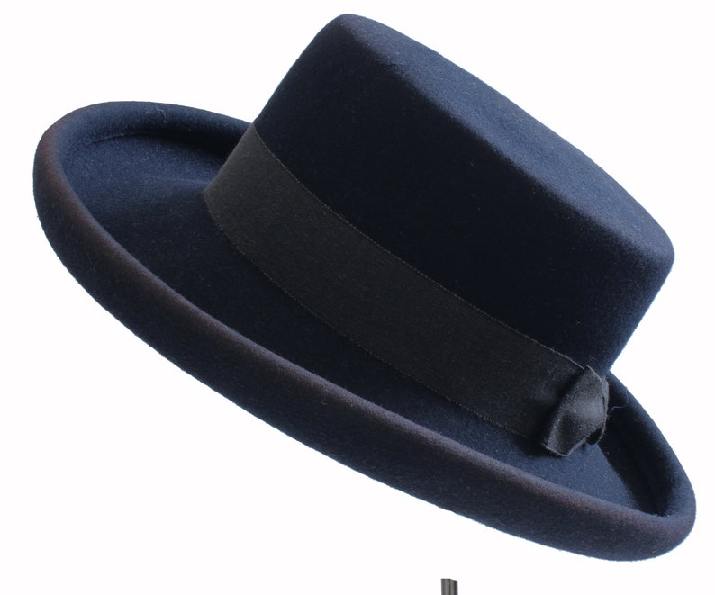 c38dd29444a 1960s Tina Too Bollman Hat Navy Wool Doeskin Felt Wide Brim | Etsy