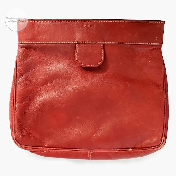 Bonnie Cashin Clutch Bag Brick Red Leather Hinge … - image 4
