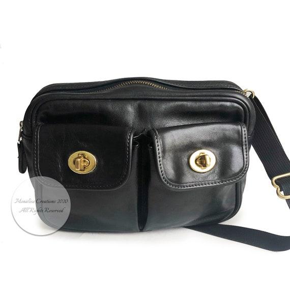 Vintage Coach Pocket Waist Pack Belt Bag Black Fan