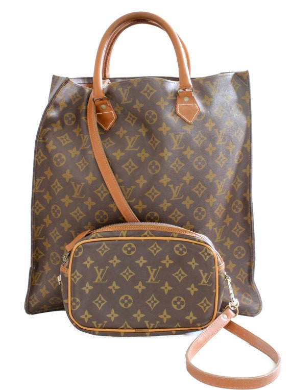 4ed8290eab22 Louis Vuitton Sac Plat Monogram Tote Bag Removable Pouch   Etsy