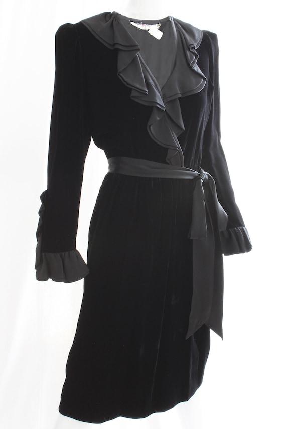 5c1ca078 Vintage Yves Saint Laurent YSL Black Silk Velvet Cocktail Dress with  Ruffles 1970s Rare Iconic