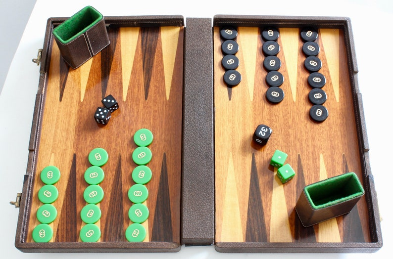 Rare Gucci Travel Backgammon Game in Leather Case with Webbing All Original  Pieces 1970s Vintage
