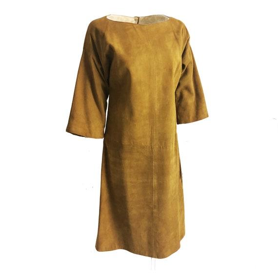Bonnie Cashin Dress Gold Suede Leather Kimono Sle… - image 2