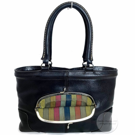 Bonnie Cashin for Coach Bag Kiss Lock Tote Black … - image 1