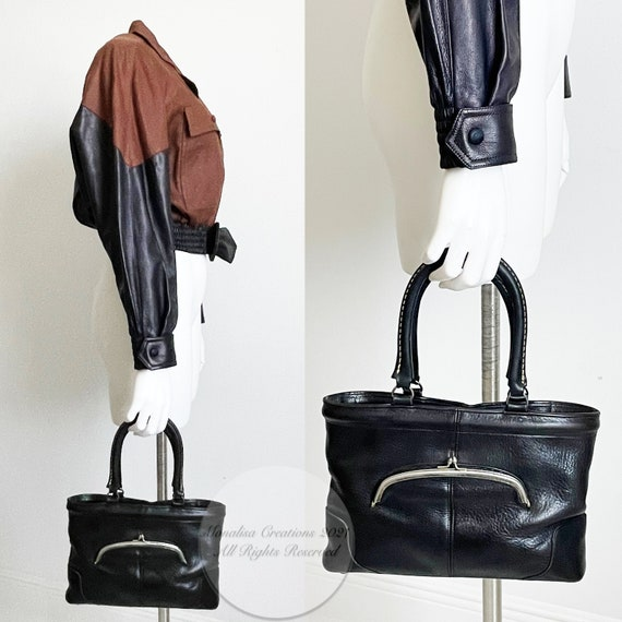 Bonnie Cashin for Coach Bag Kiss Lock Tote Black … - image 4