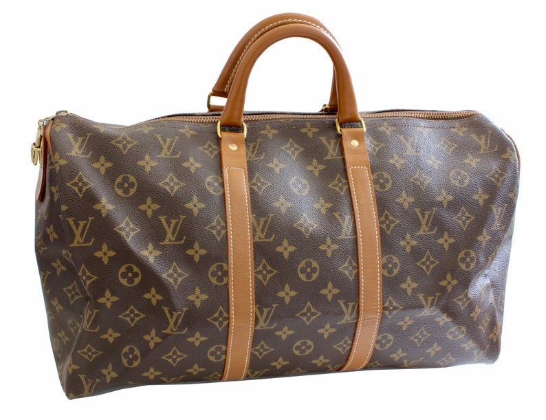 70s Louis Vuitton Monogram Keepall Travel Duffle Bag French  436c39279789a