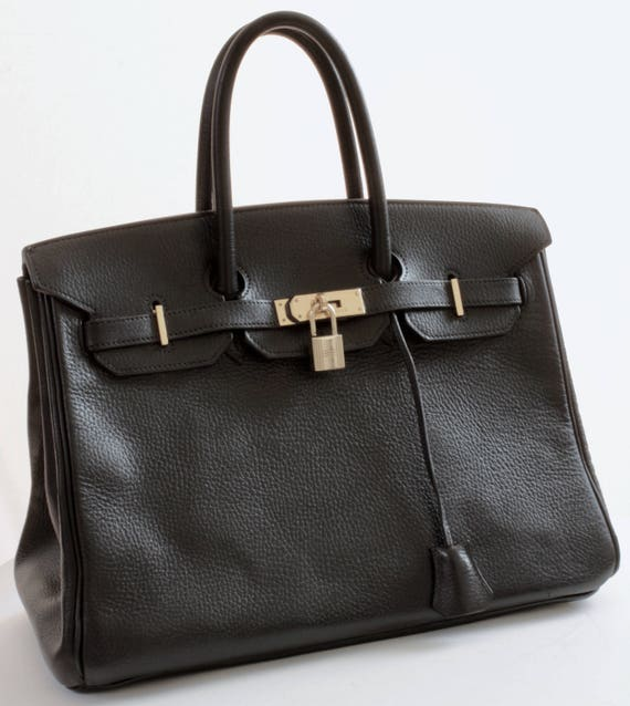 Hermes Birkin 35cm Tote Bag Black Noir Ardennes Leather 90s Vintage Iconic
