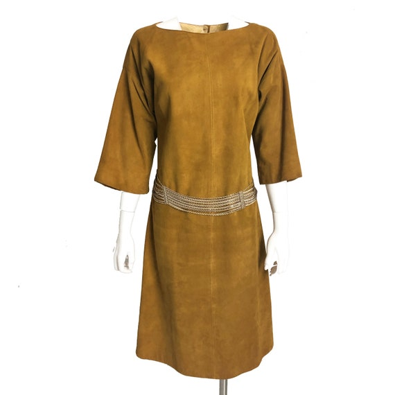 Bonnie Cashin Dress Gold Suede Leather Kimono Sle… - image 4