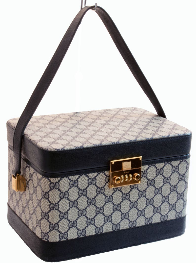 9cdab2275bb Iconic Gucci Train Case Vanity Carry On Travel Bag Navy