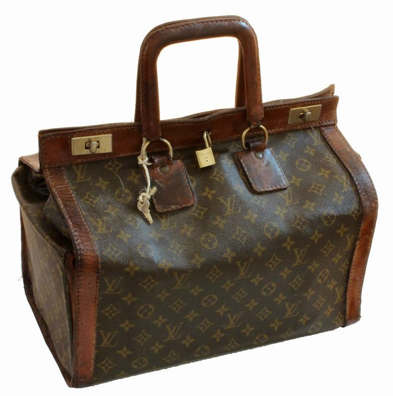 cc1eadd70f2 Rare Louis Vuitton Monogram Doctors Bag Steamer Sac Travel Tote Keepall  1950s Vintage
