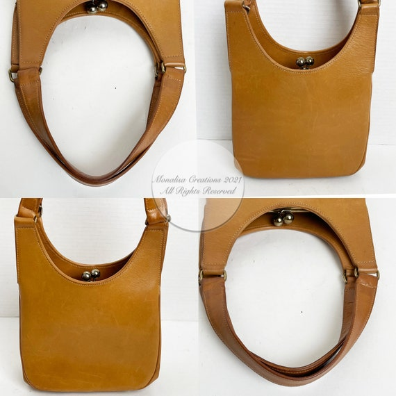 Bonnie Cashin for Coach Kiss Lock Bag Saddle Tan … - image 9