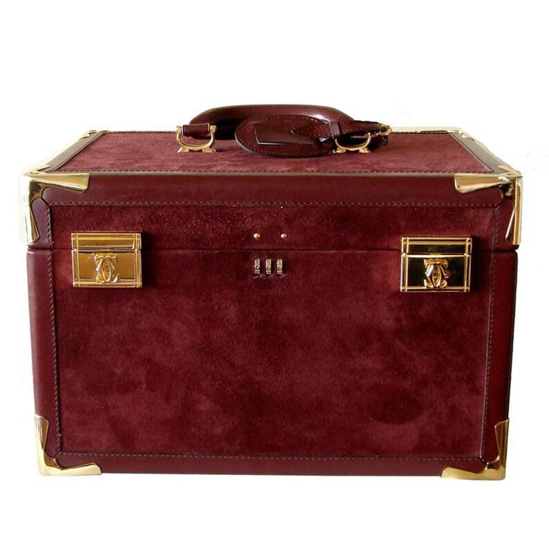9bc6520e6c5d Rare Cartier Bordeaux Suede Leather Train Case Travel Bag with