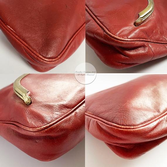 Bonnie Cashin Clutch Bag Brick Red Leather Hinge … - image 8