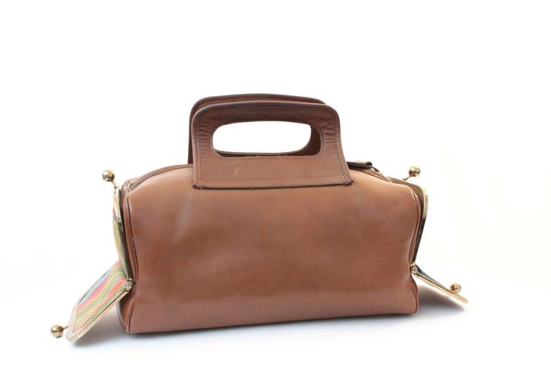 abf852bbcf4b Bonnie Cashin Saddle Leather Tote Bag Double Header Kiss Lock
