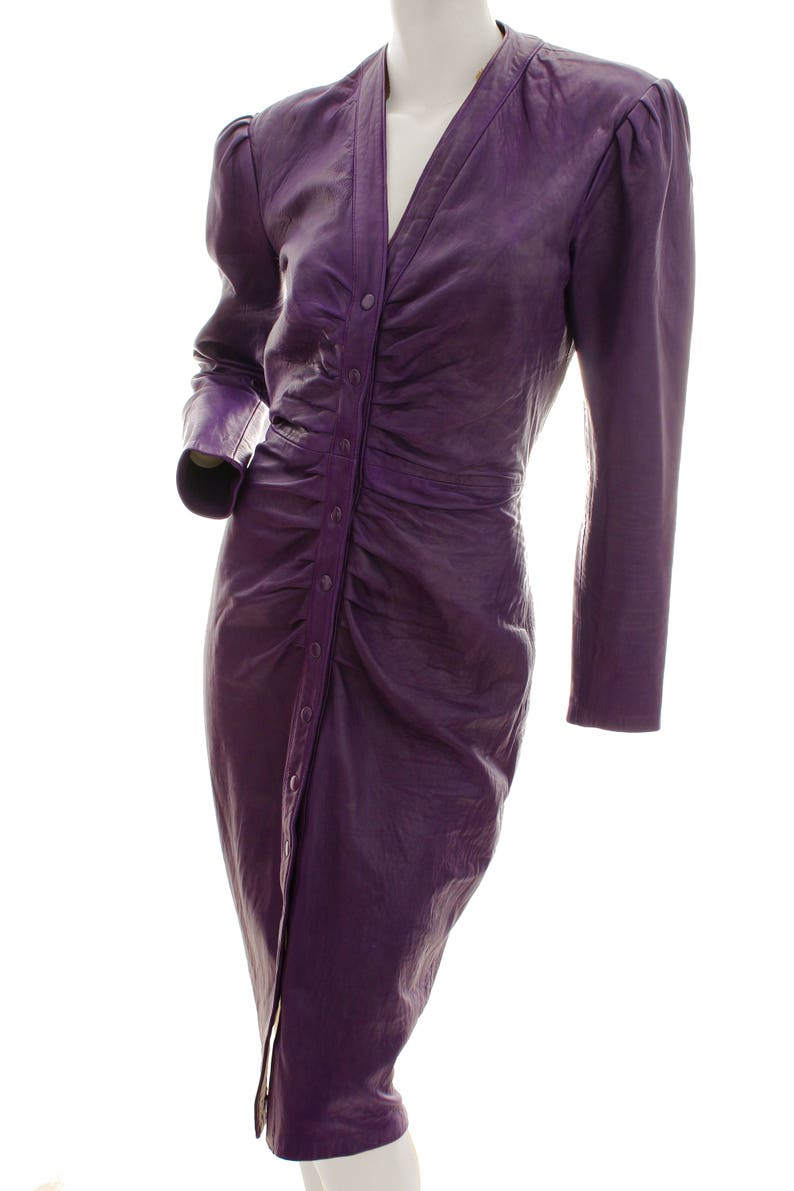 47c6072692 Michael Hoban North Beach Leather Dress Purple Fitted Long