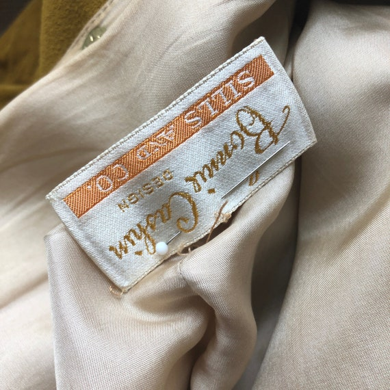Bonnie Cashin Dress Gold Suede Leather Kimono Sle… - image 5
