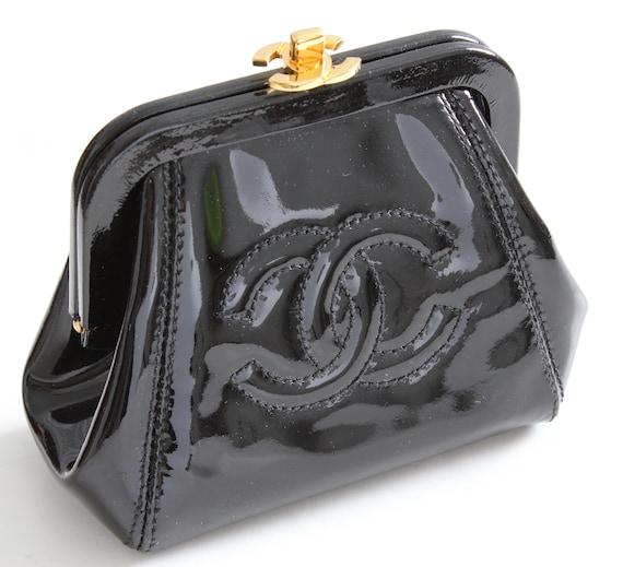 91cb34de0bd8 Chanel Patent Leather Small Coin Purse Clutch Black Patent CC