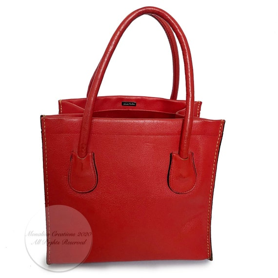 Vintage Bonnie Cashin for Coach Bag Red Leather D… - image 4