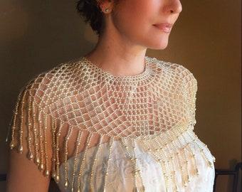Vintage Faux Pearl Bridal Shawl Cape