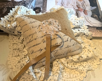 Vintage Burlap, Leather and Lace Wedding Ring Pillow