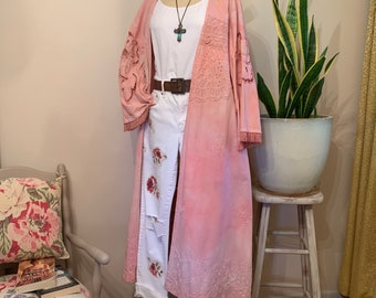 HANDMADE Pink Quartz Bohemian Kimono Hand Dyed