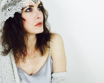 Bohemian Gypsy Hippie Antique Beaded Lace Headwrap Headband