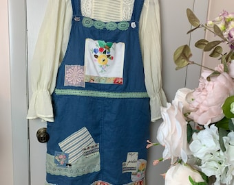 Kitties in the Flowers Remade Linen Overall Dress