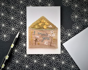 I Miss You Card - Missing You Card, Long Distance Love, Relationship Card, Textile Art Photo,  Hand Embroidery Message